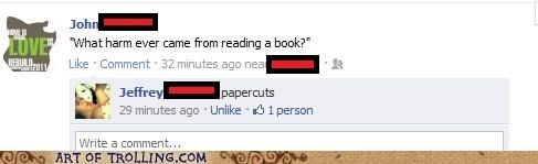 book,facebook,harm,papercuts,reading