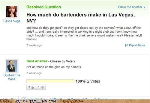bartenders dontrell pimp vegas Yahoo Answer Fails - 5250567680