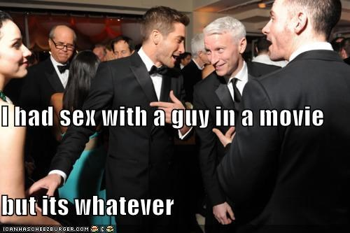 actors,Anderson Cooper,bragging,i-understand-what-youre-going-through,its-whatever,jake gyllenhaal,journalists,roflrazzi