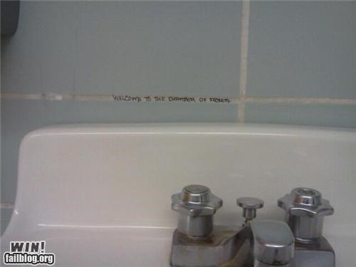 bathroom Bathroom Graffiti graffiti hacked irl Harry Potter - 5251395072