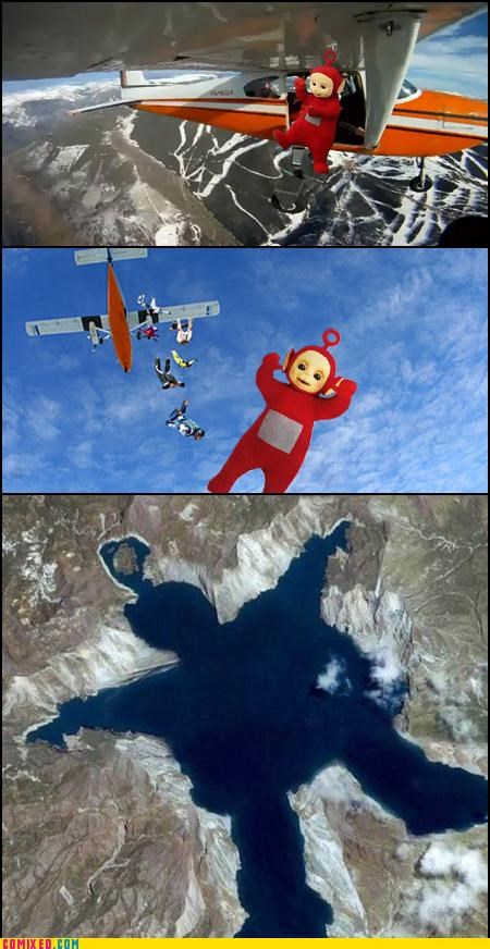 flying on the earth parachute teletubbies the internets yo mamma