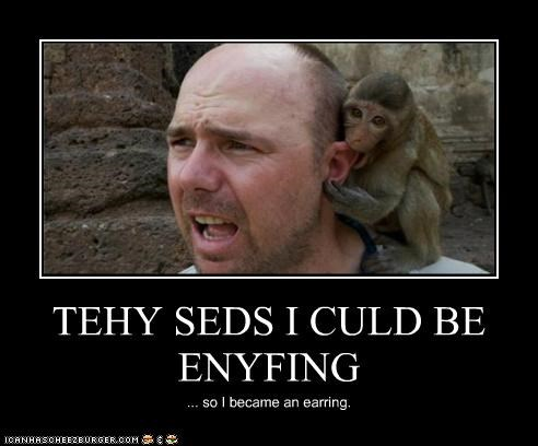 biting,earrings,ears,I Can Has Cheezburger,monkeys,so I became,They Said