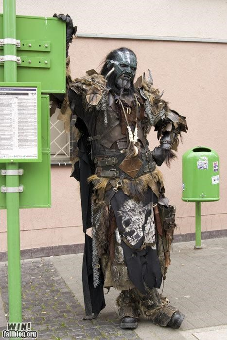 bus stop,cosplay,costume,Lord of the Rings,nerdgasm,sauron,uruk hai