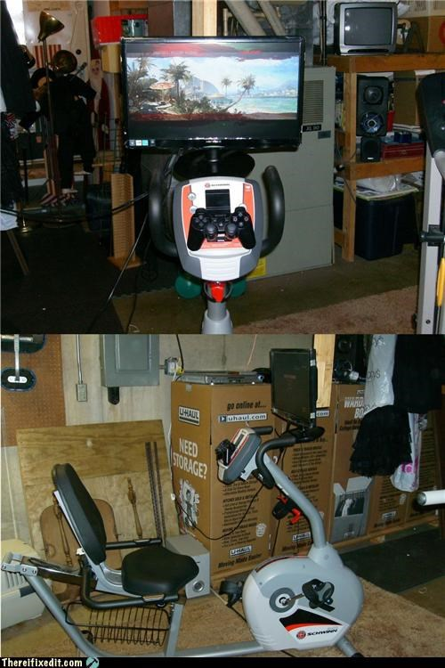 bicycle dual use exercise television video games