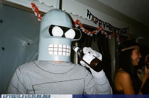 beer,beer bottle,bender,costume party,futurama,hey baby
