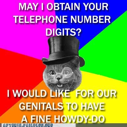 fancy dress,howdy-do,lolcat,monocle,Party,pickup line,top hat