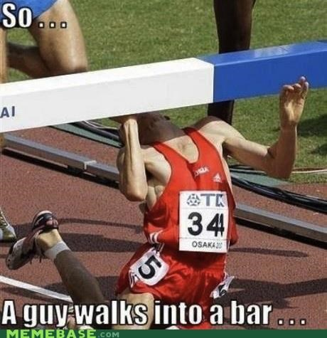 bar,cliché,guy,Hall of Fame,hurdles,into,joke,literalism,Memes,puns,running,track,walks
