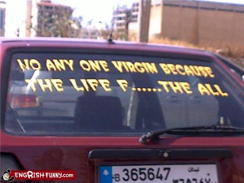 car,relationships,slogan,vinyl,virgin,window art