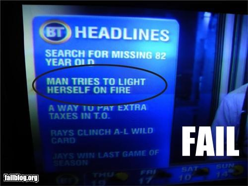 Chyron failboat fire gender bender g rated Probably bad News