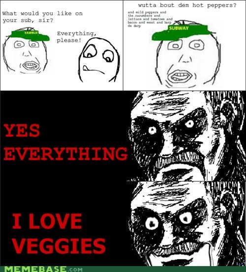 everything,hot peppers,Rage Comics,Subway,veggies,what