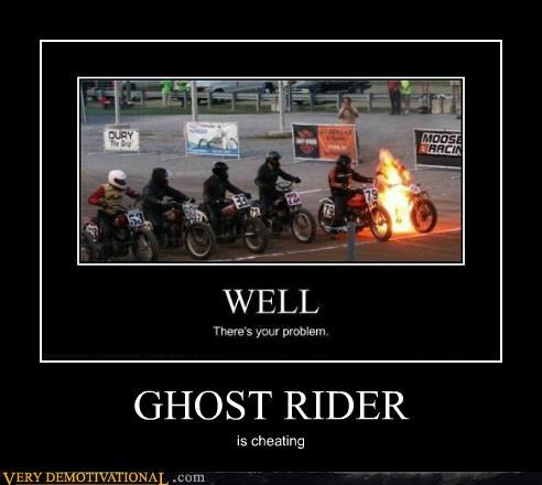 cheating ghost rider hilarious motorcycles race