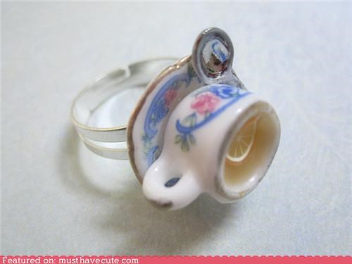 classy cute finger pinkie ring tea cup - 5254647296