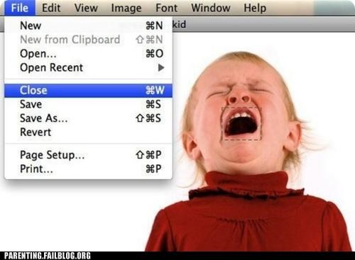 baby close crying hacked Parenting Fail photoshop quiet shut up