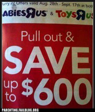business conception contraception coupon deal Parenting Fail savings shopping special toy toys r us