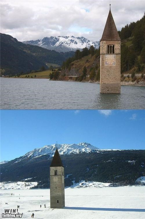 church,eerie,europe,flood,Italy,steeple,submerged