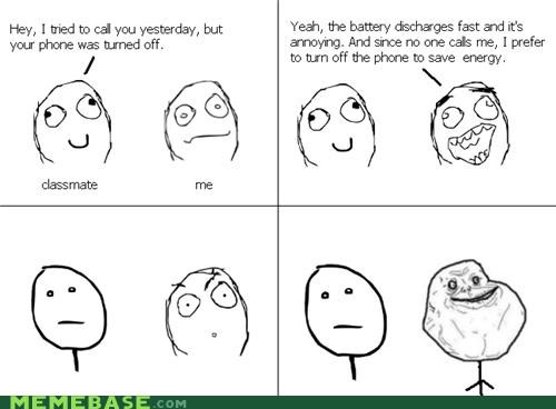 cell phone,forever alone,Rage Comics,Sad