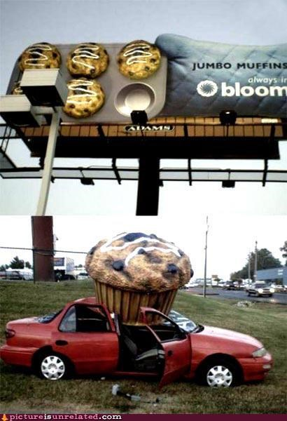 billboard car huge muffin wtf - 5256432128