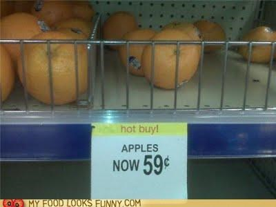 apples mislabeled oranges sign store