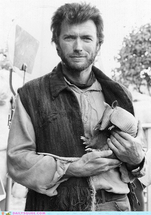 acting like animals armadillo baby Clint Eastwood Hall of Fame holding lolwut meme random weird - 5256804864