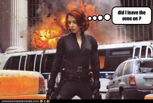 actresses explosions fires ovens roflrazzi scarlett johansson The Avengers thinking - 5256906240