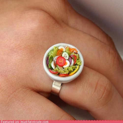 accessories food Jewelry miniature ring salad