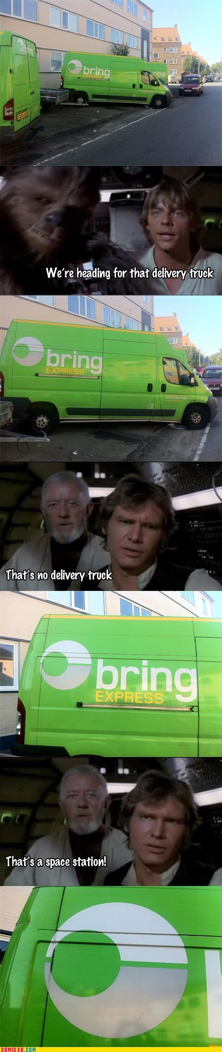 delivery,no moon,space station,star wars,truck