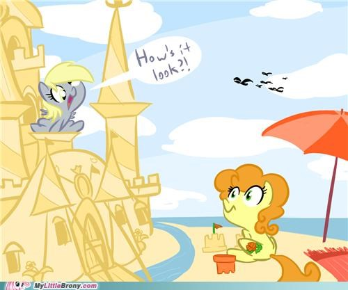 art,derpy hooves,having fun,not so stupid,sandcastle,the beach