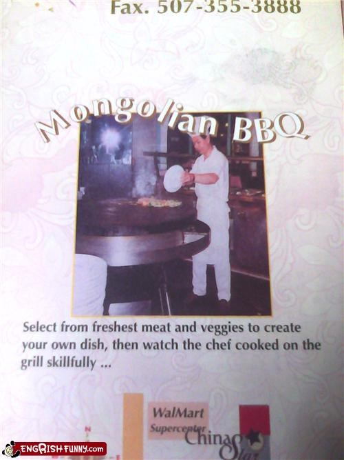 accidental cannibalism,barbecue,bbq,cook,dinner,food,menu,mongolian,restaurant