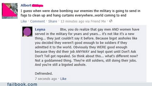 bigotry,dadt,defriended,equal rights,Featured Fail,military,oh snap