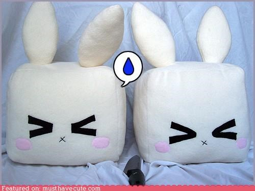 bunnies cubes plush toys scared tofu