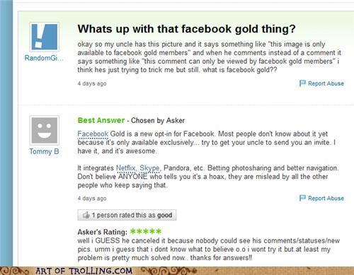 dumb girl,facebook gold,stupid,Yahoo Answer Fails