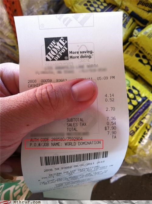 cashier home depot receipt retail world domination - 5259271936