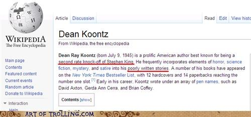 dean koontz,stephen king,wikipedia