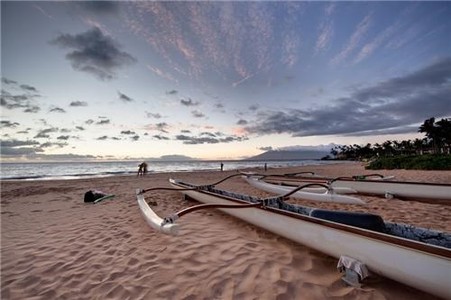 beach blue boats clouds getaways Hawaii maui polynesian island polynesian islands sand sunset tan united states - 5259447296