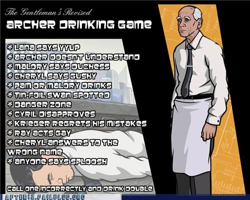 TV drinking game archer funny after 12 g rated