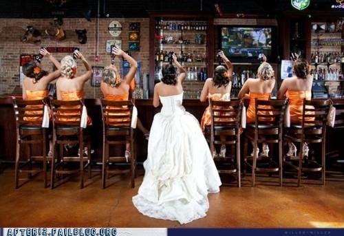 bar beer bridal party bride bridesmaids drinking drunk wedding