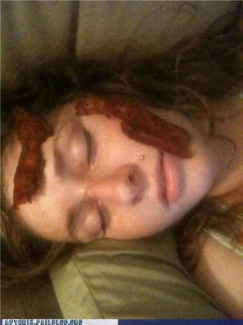 bacon,drunk,passed out,revenge,vegan,vegetarian
