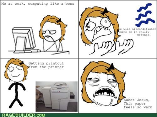 air conditioner paper printer Rage Comics warm - 5261117184