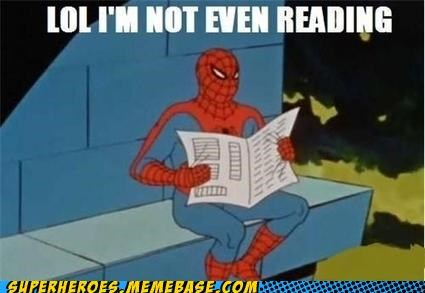 newspaper,reading,Spider-Man,Super-Lols