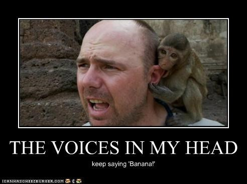 banana caption captioned confused head human in keep lolwut monkey saying voices - 5264708608