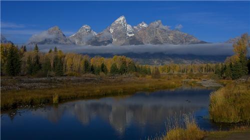 clouds getaways horizon mountains north america river tetons united states Wyoming - 5265186048