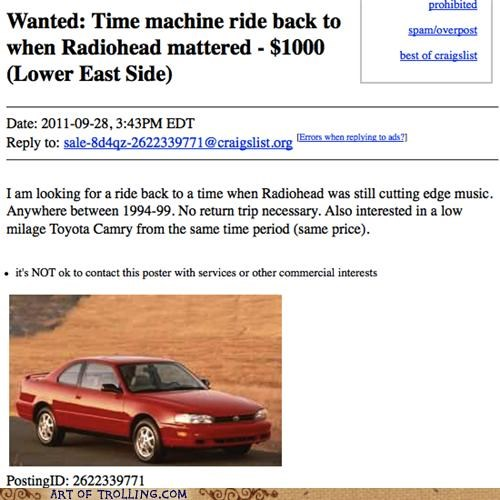 camry radiohead shoppers beware time machine - 5265647616