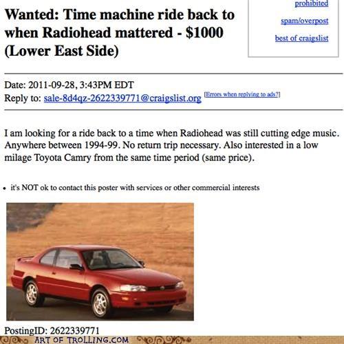 camry radiohead shoppers beware time machine - 5265647616