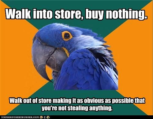 gum,obvious,Paranoid Parrot,shoplifting,stealing,store
