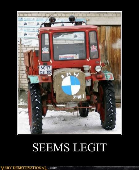 bmw,hilarious,seems legit,tractor,truck