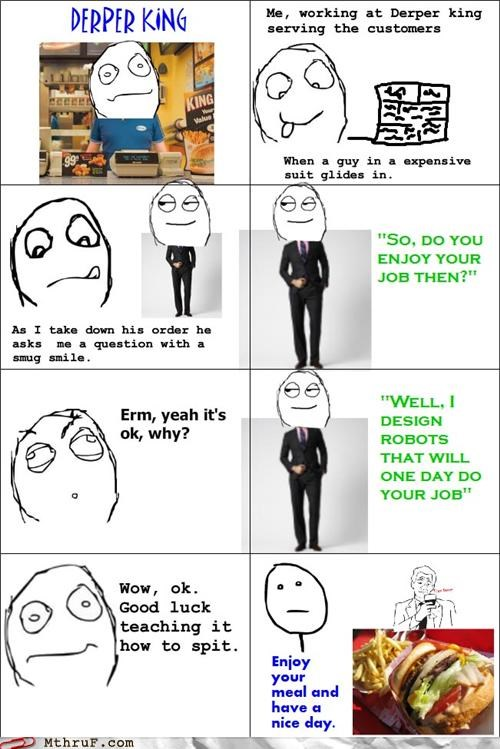 comic,customer service,fast food,food service,rage comic,robots,spit
