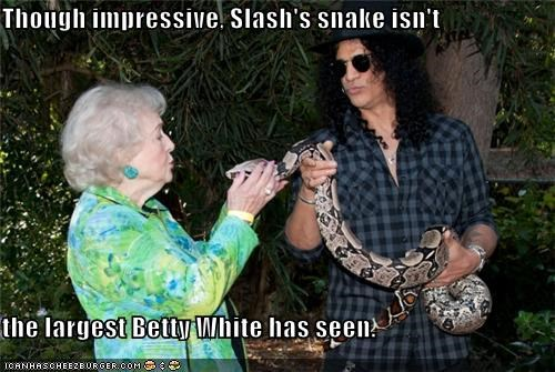 actress,best of the week,betty white,comedy,impressive,innuendo,musicians,roflrazzi,slash,snake