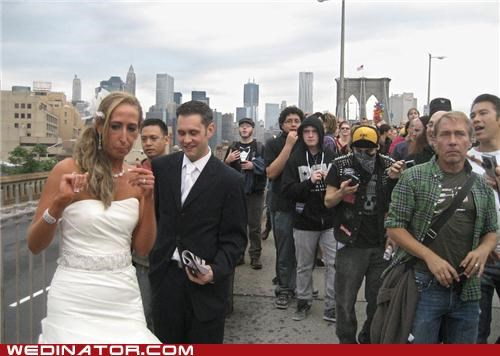 bride,brooklyn,funny wedding photos,groom,new york,Protest