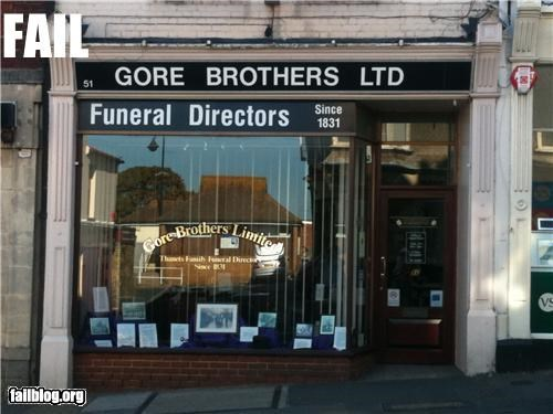 business name,failboat,funeral,g rated,irony