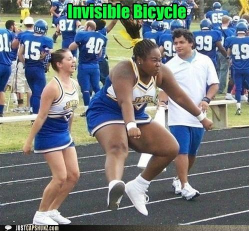 cheerleader cheerleaders haters gonna hate invisible bicycle invisible bike wtf - 5268831232